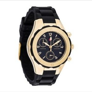 Michele Silicone Band Black and Gold Watch
